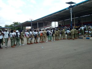 Corp members collecting certificate